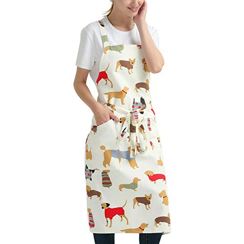 100% Cotton Canvas Apron, Dog Print Kitchen Chef's Aprons with Adjustable Straps, Cross Back for Home, Artist, Crafting, Restaurant (Soft Sturdy)