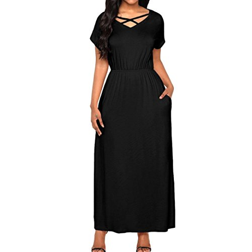 Crystell Mode Robe Sexy, Femmes Manches Courtes Solide Longue Robe Boho Robe Maxi Dame Plage Été Longue Robe Noire