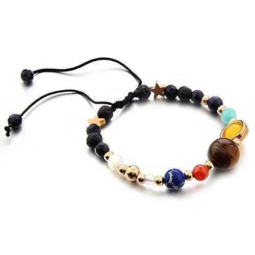 Lava Stone Strand Bracelet Galaxy Solar System Eight Planets Theme Hand Chain Bracelet String Natural Stone Beaded Bracelet Jewelry for Women (multicolored)