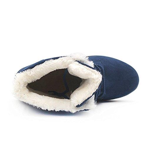 Eagsouni�?Winterschuhe Damen Warme Gefüttert Schlupfstiefel Outdoor Flach Anti Rutsch Sohle Stiefeletten Schneestiefel Blau
