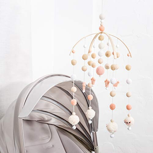 (Baby Crib Mobile Bed Wind Wooden Bell Rattle Nordic Style Beads Chimes for Kids Room Hanging Newborn Gifts Nursery Decor)