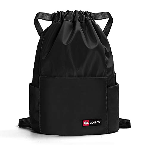 ZOORON Waterproof Drawstring Gym Backpack Bag for Men & Women, Sport Gym Sack Mini Travel Daypack