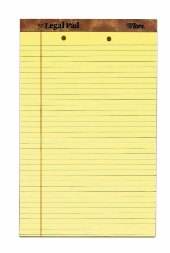 "The Legal Pad Legal Pad, 8-1/2"" x 14"", Perforated, 2HP, Canary, Legal/Wide Rule, 50 Sheets per Pad, 12 Pads per Pack"