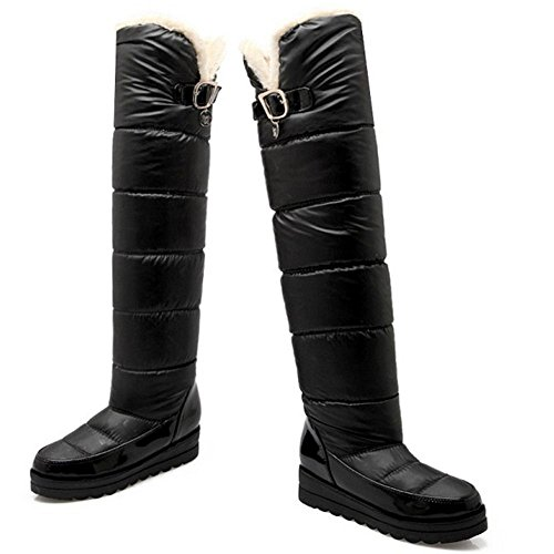 Knee Winter COOLCEPT Heels Waterproof Mid Boots Black Platform Warm High Women 0wq1RxOZaP