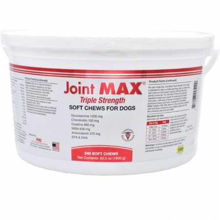 PHS Joint MAX Triple Strength (TS) Soft Chews for Dogs - Glucosamine, Chondroitin, MSM - Vitamins, Minerals, Antioxidants- Hip and Joint Pain Relief and Support for Dogs - Made in USA - 240 Soft Chews