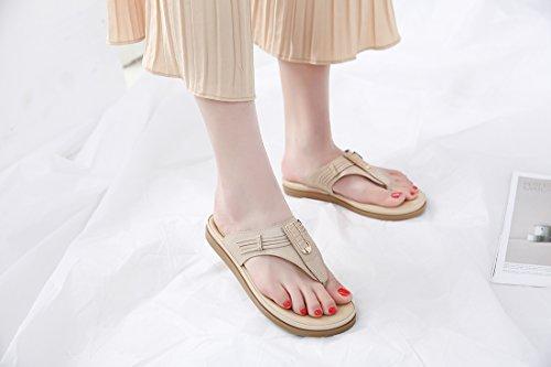 Femmes pour D'été des Ruiren de Abricot Chaussures de Sandales Dames Plates Bascules Rxq8pA