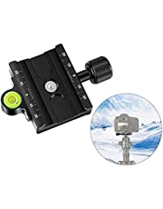 Neewer Metal 60mm Quick Release Plate QR Clamp 3/8-inch with 1/4-inch Adapter and Bubble Level, Adjustable Lever Knob, Compatible with Standard for Tripod Ballhead