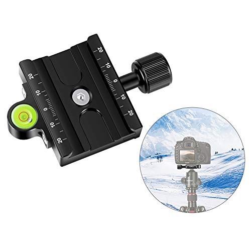 Neewer Metal 60mm Quick Release Plate QR Clamp 3/8-inch with 1/4-inch Adapter and Bubble Level, Adjustable Lever Knob, Compatible with Arca-Swiss Standard for Tripod Ballhead