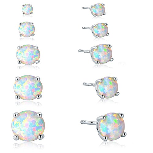 GEMSME 18K White Gold Plated 3/4/5/6/7mm Round Opal Stud Earrings Pack of 4