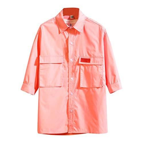 XQXCL ☀ Summer T-Shirts Youth Tshirt Fashion Tee Tops Hoodie Half Sleeves Cargo Shirts Loose Streetwear Solid T Shirt - Plaid Pant Highland Ladies