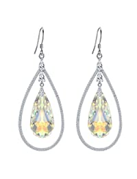 EleQueen 925 Sterling Silver CZ Big Teardrop Hook Dangle Earrings Iridescent Aurora Borealis AB Adorned with Swarovski® Crystals