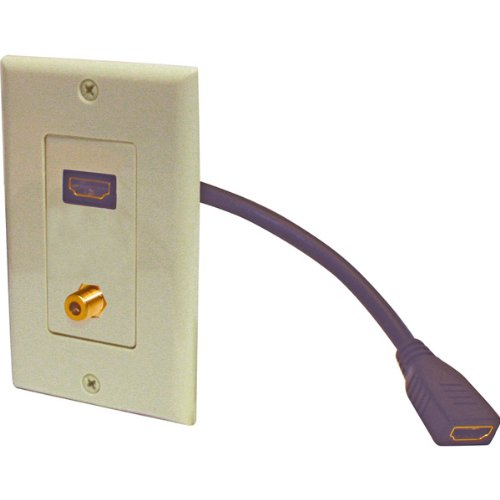 HDmi Pigtail Fjack Wall Plate - Ivory Steren Single