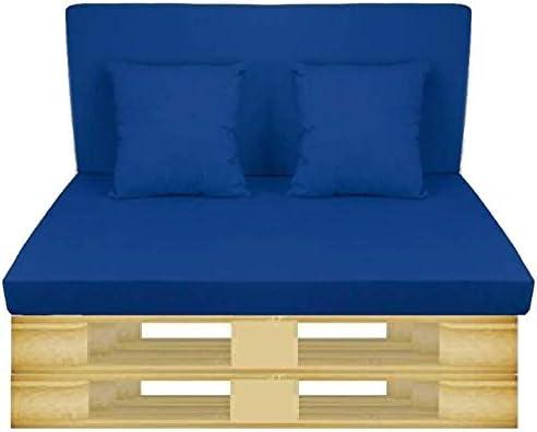 Gbla Colchon y Respaldo de Espuma para Sofá de Palet Enfundado en Tejido - Ideal para Jardín, Terraza, Patio, Salón y Balcón (Azul): Amazon.es: Jardín
