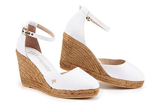eleganti alla Viscata in 7 62 comode Estartit Espadrillas White in punta made tacco cinturino tela caviglia nbsp;cm Spagna chiusa r0wq0Ex