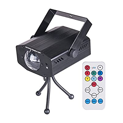 DuaFire Led Projector Strobe 7 Colors Ocean Wave Party Laser Stage Light Disco Ball with Voice-activated Version Speed, Music/Auto Mode for Weddings, Karaoke, Bars, Parties with A Remote Controller