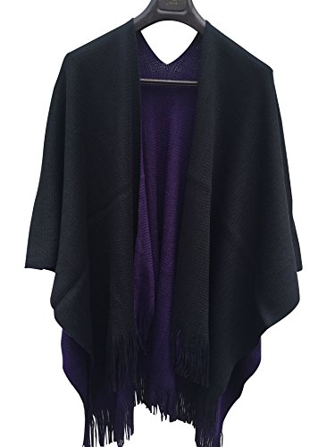 ilishop Women's Winter Knitted Cashmere Poncho Capes Shawl Cardigans Sweater Coat Black-Purple Free