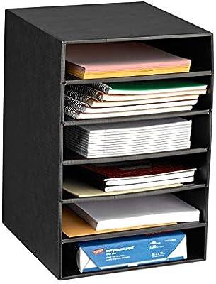 School /& Office Use for Home Space Saving Storage Rack Corrugated Cardboard Multipurpose Document Stand Rack AdirOffice 6-Shelf Organizer White