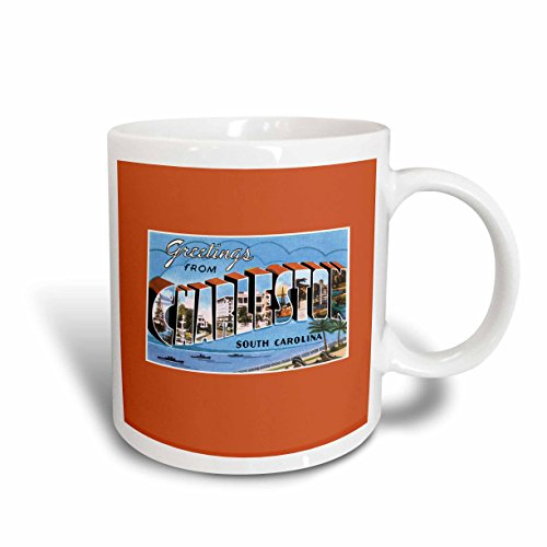 3dRose mug_170615_2 Greetings from Charleston South Carolina Ocean Scene Ceramic Mug, (Charleston Side Table)