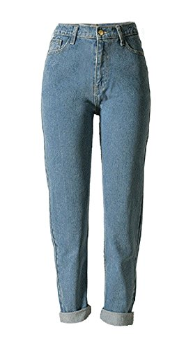 Sorrica Women's Jeans Stretch Straight-Leg Boyfriend Denim Pants (US 12, Light Blue)