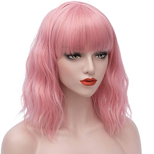 Short Pink Wig Fluffy Bob Hair Wigs with Bangs for Women Cosplay Costume Wigs with Wig Cap BU125PK -