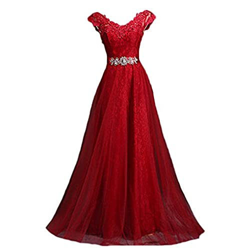 Generic Womens V Neck Cap Sleeve Lace Evening Gowns Party Prom Dress, Burgundy, US22W