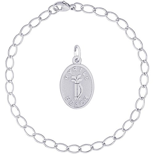 (Rembrandt Charms Sterling Silver Myrtle Beach Golf Bag Charm on a Elongated Oval Bracelet, 7