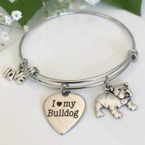 Bulldog Bracelet - Charm Bangle for English BullDog Owners - Pet Themed -