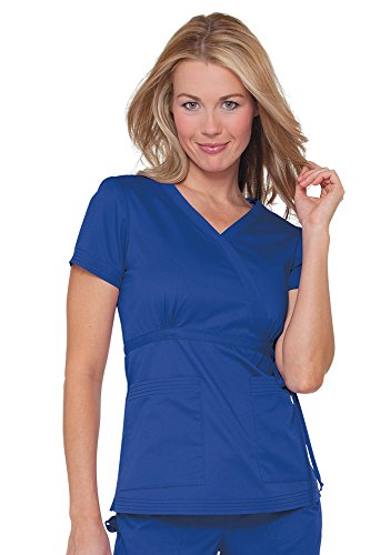 Fit Tie (Koi Women's Katelyn Easy-Fit Mock-Wrap Scrub Top With Adjustable Side Tie, Galaxy, X-Large)