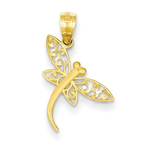 14K Yellow Gold Satin Diamond-cut Dragonfly Pendant - (0.83 in x 0.51 in)