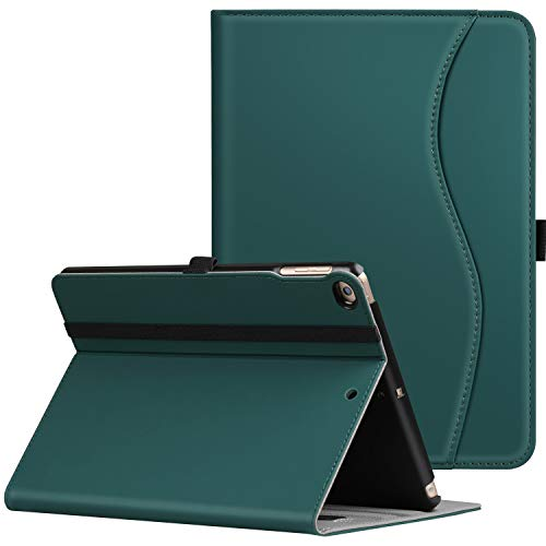 Ztotop Case for New IPad 9.7 Inch 2018/2017,Premium PU Leather Business Slim Folding Stand Folio Cover with Auto Wake/Sleep,Pencil Holder and Multiple Viewing Angles,Dark Green