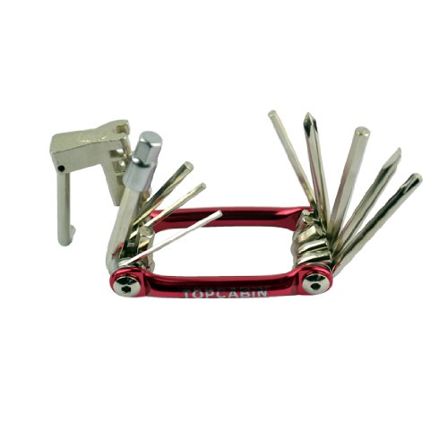 JZ Color Multi-function Folding Bike Tool Bicycle Repair Tools with Allen Wrench / Chain Splitting Tool / Screwdriver (Red)