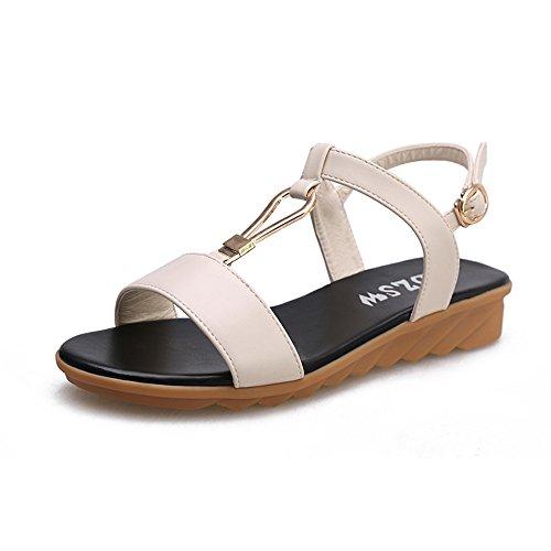 Sandalias planas mujeres Madres Embarazadas Antiresbaladiza cómodas sandalias Blanco leche