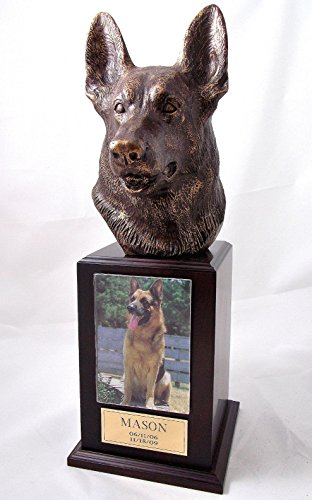 (Ever My Pet Bronze German Shepherd Dog Tower Pet Urn Walnut)
