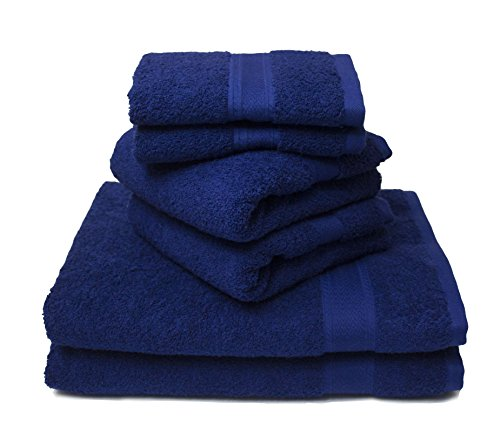 Luxury Hotel & Spa set of 6-piece Towels, 750GSM,100% Long Staple Combed Cotton. Premium set of 2 bath towels, 2 hand towels, 2 washcloths (Blue) ()