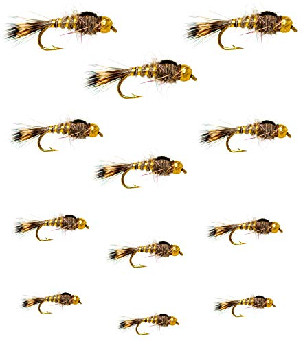 Outdoor Planet 12 Gold Bead Gold Ribbed Hare's Ear Nymph Trout Fly Lure Assotment for Wet Fly Fishing ()