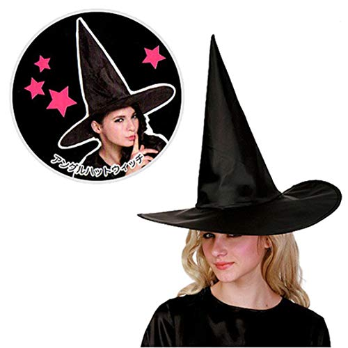 XILALU Wizard Hat Womens, Classic Adult Black Witch Cap Halloween Costume Accessory Ideal Party&Carnivals(1/10 Packs) ()