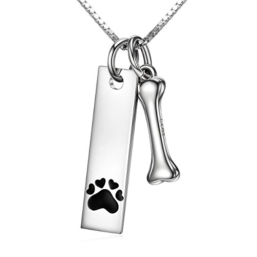 Dog Paw Sterling Silver Pendant - Sterling Silver Two Tone Charms Dog Paw and Bone Pendant Necklace Engraved Always in My Heart