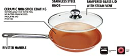 Cooper Frying Pan 12-Inch With Glass Lid Non Sick Ceramic Infused Titanium Steel Oven Safe, Dish Washer Safe, Scratch Proof