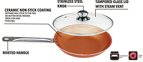 Copper Frying Pan 10.5 Inch With Glass Lid, Non Sick Ceramic Infused Titanium Steel Oven Safe, Dish Washer Safe, Scratch Proof