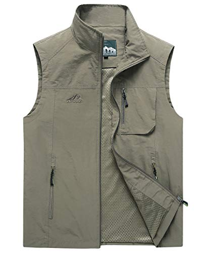 Big And Tall Cotton Vest - Hixiaohe Men's Lightweight Outdoor Work Fishing Photo Travel Hiking Vest Gilet (05 Khaki, L)