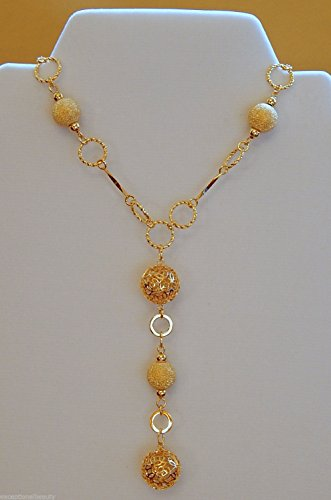 iligree Stardust Round Ball Beads Fancy Link Chain Necklace (Link Necklace Gold Fancy Bead)