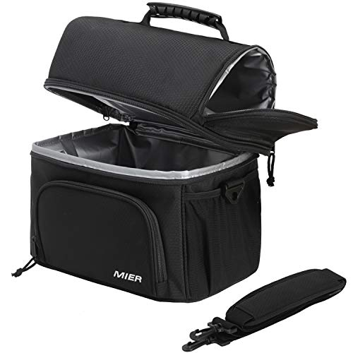 - MIER Dual Compartment Cooler Bag Tote Adult Insulated Lunch Bag for Men Women, Leakproof Soft Cooler for Kayak, Beach, Travel, Work, Picnic, Grocery, Large, Black