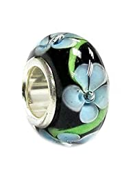 Sterling Silver Black Blue Flower Glass Bead for European Chamilia Biagi Troll Pandora Charm Bracelets