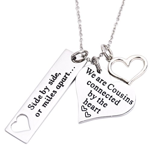 LParkin Cousin Necklace Side by Side Or Miles Apart We are Cousins Connected by The Heart (Necklace)