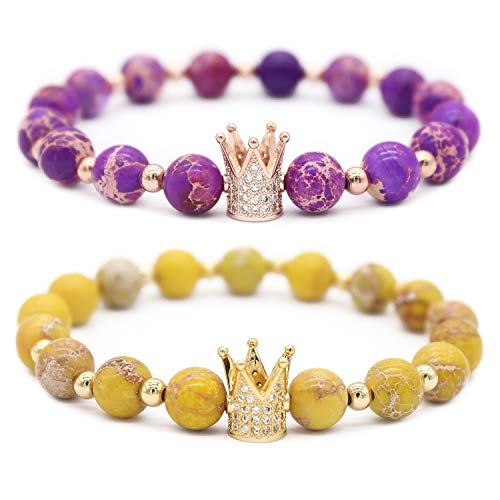 (Gemfeel 8mm Yellow Sea Sediment Jasper & Purple Sea Sediment Jasper CZ Her King/His Queen 8mm Beads Couple Bracelet, 7.6
