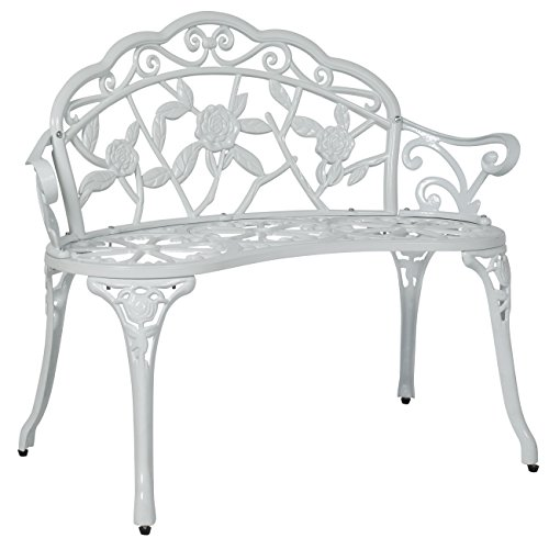 Best Choice Products Floral Rose Accented Metal Garden Patio Bench w/ Antique Finish - White ()