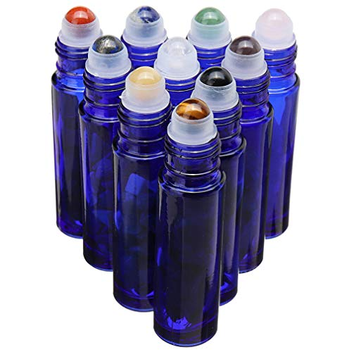 Cobalt Blue Glass Roller Bottle 10 Pack 10ml Gemstone Roller Ball For Essential Oils,Natural Crystal Stones Roller Ball With Black Lid Thick Glass Roll on Bottle,10 Balls material-Crystal Chips Inside