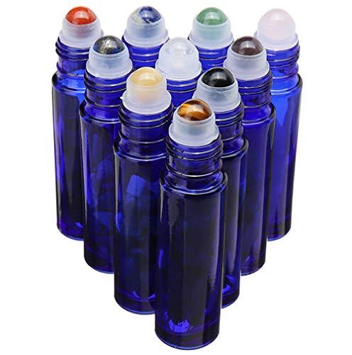 Liquid Blue Rolling Stones - Cobalt Blue Glass Roller Bottle 10 Pack 10ml Gemstone Roller Ball For Essential Oils,Natural Crystal Stones Roller Ball With Black Lid Thick Glass Roll on Bottle,10 Balls material-Crystal Chips Inside