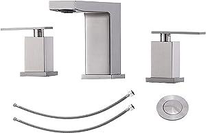 KINGO HOME Widespread 3 Hole 2 Handle Brushed Nickel Bathroom Faucet, Modern Vanity Basin Bathroom Sink Faucet