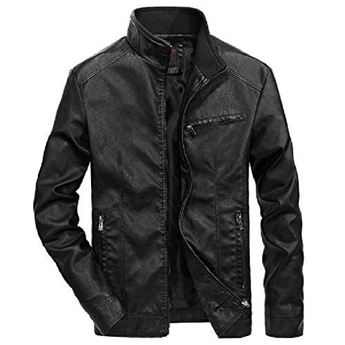 Leisure Coat Leather Biker Men RkBaoye Trench Leather PU 1 Casual Solid Faux aExqF
